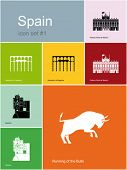 Landmarks of Spain. Set of flat color icons in Metro style. Editable vector illustration.