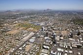 stock photo of piestewa  - Midtown skyline of Phoenix Arizona with park and Camelback Mountain view