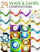 Mega set of waves and swirls - design templates. Business/tech backgrounds