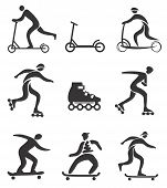 foto of scooter  - Set of nine black symbols of scooter - JPG