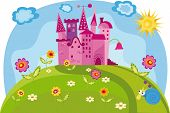 stock photo of yellow castle  - Vector illustration with a princess castle for your design - JPG