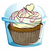 Illustration of a cupcake inside the disposable container on a white background