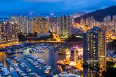 Typhoon shelter in Hong Kong at night