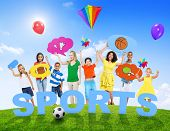 Multi-Ethnic Group of Mixed Age People and Sports Concept