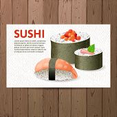 Advertising sushi card over wooden background