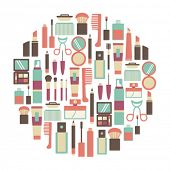 picture of hairspray  - round design element with makeup icons - JPG
