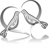 Icon Illustration Featuring the Outlines of a Dove Couple Drawn in Black and White