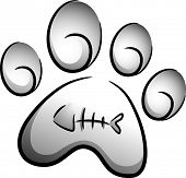 Icon Illustration of a Cat Paw Print Drawn in Black and White