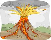 Illustration Featuring an Erupting Volcano Spewing Lava, Ashes, and Rocks