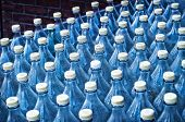 image of condensation  - Detail close up of blue Water Bottles with droplets of condensation - JPG