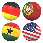 3D Soccer Balls With Group G Teams Flags