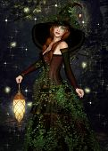 picture of fairy-mushroom  - Dreamy Fairy in the forest at night with a lantern - JPG