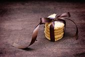 Stacked Apple Chip Cookies Taped With Silk Ribbon