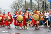 Krakow, Poland - April 28 : Cracovia Marathon. Spartans Children Charity Group Speed On The City Str