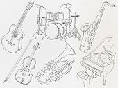 Music Instrument Sketch Vector Pack