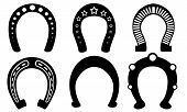 stock photo of horseshoe  - set of different horseshoes isolated on white - JPG