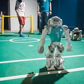 Nao Robot Playing Soccer At Wired Next Fest In Milan, Italy