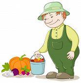 Gardener with vegetables