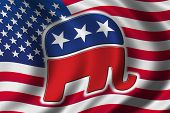 American flag with the republican party's elephant on it