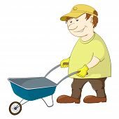 Man with wheelbarrow