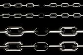 Four different views on chains with their weakest link over black background