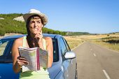 Lost Woman On Car Roadtrip Travel Problem
