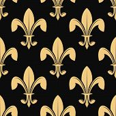 Seamless pattern of classical golden fleur de lys