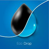 Drop of petroleum and clear water. Ecology concept.