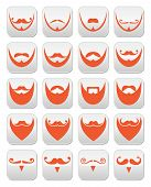 Ginger beard with moustache or mustache vector icons set