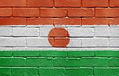 Flag of Niger painted onto a grunge brick wall