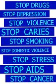 Set Actual Slogans Written On Blue Tapes