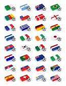 Soccer World Cup 2010 participating countries - complete set of flags and soccer balls of all competing nations
