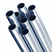 Metal pipes with blue tint over white background