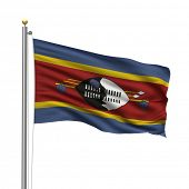 Flag of Swaziland with flag pole waving in the wind over white background