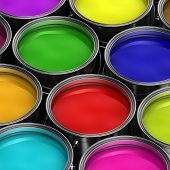 picture of gamma  - Paint buckets with various colored paint - JPG