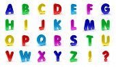 Alphabet in capital letters in the shape of refrigerator magnets isolated over white background