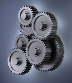 A bunch of gear wheels symbolizing accuracy