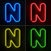 stock photo of letter n  - Highly detailed neon sign with the letter N in four colors - JPG