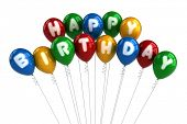 Colorful happy birthday balloons over white background