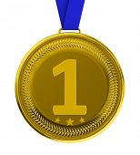 Isolated gold medal over white background with clipping path