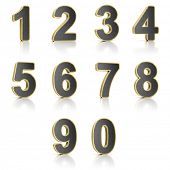 Number from 0 to 9 with perforated metal over white background