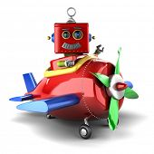 Happy vintage toy robot sitting in a toy plane over white background