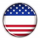 Blank patriotic election button over white background