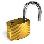 Close up on unlocked padlock over white background