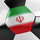 Close up view of a soccer ball with the Iranian flag on it