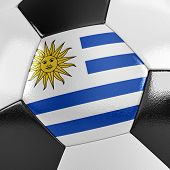 Close up view of a soccer ball with the Uruguayan flag on it