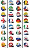 Set of all national flags participating in the soccer world championship