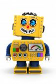 Yellow toy robot is looking up in the air with a big smile on its face