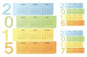 Russian 2015, 2016, 2017 Color Vector Calendars