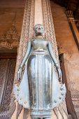 Vientiane, Laos - Feb 2: Bronze Buddha Statue At The Haw Phra Kaew, Vientiane, Laos On Feb 14, 2014.